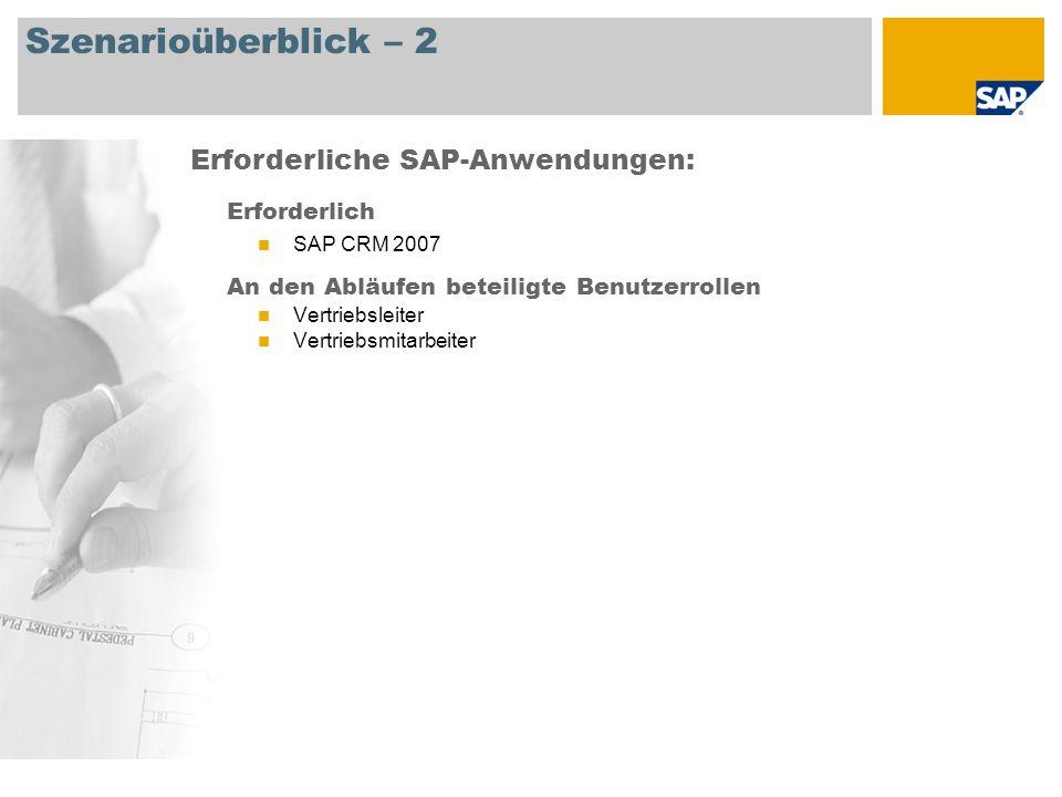 Szenarioüberblick – 2 Erforderlich SAP CRM 2007 An den Abläufen beteiligte Benutzerrollen Vertriebsleiter Vertriebsmitarbeiter Erforderliche SAP-Anwendungen: