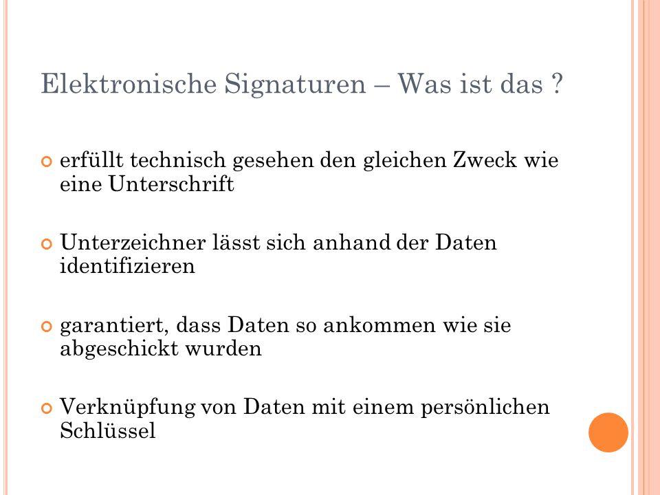 Elektronische Signaturen – Was ist das ? erfüllt technisch gesehen den gleichen Zweck wie eine Unterschrift Unterzeichner lässt sich anhand der Daten