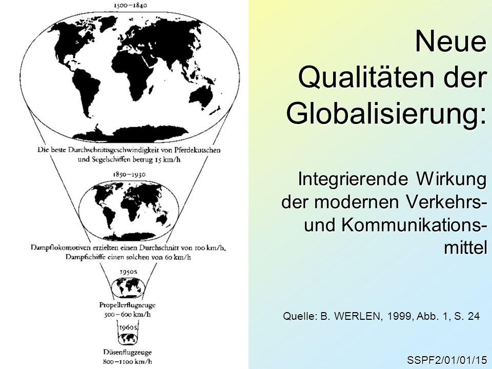 SSPF2/01/01/15 Neue Qualitäten der Globalisierung: Integrierende Wirkung der modernen Verkehrs- und Kommunikations- mittel Quelle: B.