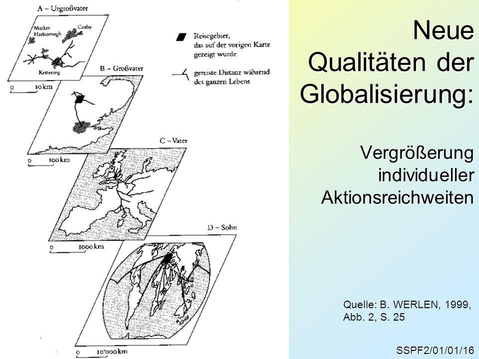 SSPF2/01/01/16 Neue Qualitäten der Globalisierung: Vergrößerung individueller Aktionsreichweiten Quelle: B. WERLEN, 1999, Abb. 2, S. 25