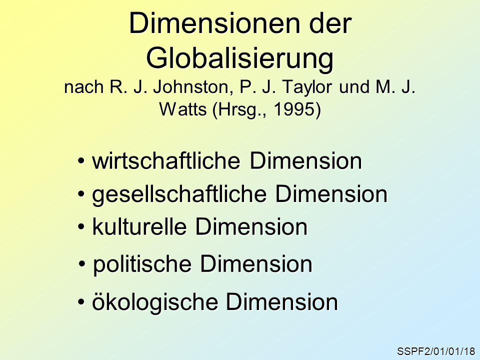 SSPF2/01/01/18 Dimensionen der Globalisierung nach R. J. Johnston, P. J. Taylor und M. J. Watts (Hrsg., 1995) gesellschaftliche Dimension gesellschaft