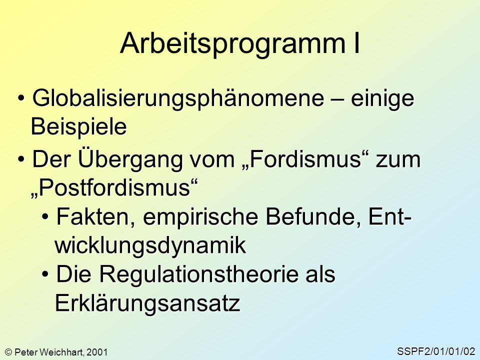 """Arbeitsprogramm I SSPF2/01/01/02 Globalisierungsphänomene – einige Globalisierungsphänomene – einige Beispiele Beispiele Der Übergang vom """"Fordismus"""""""