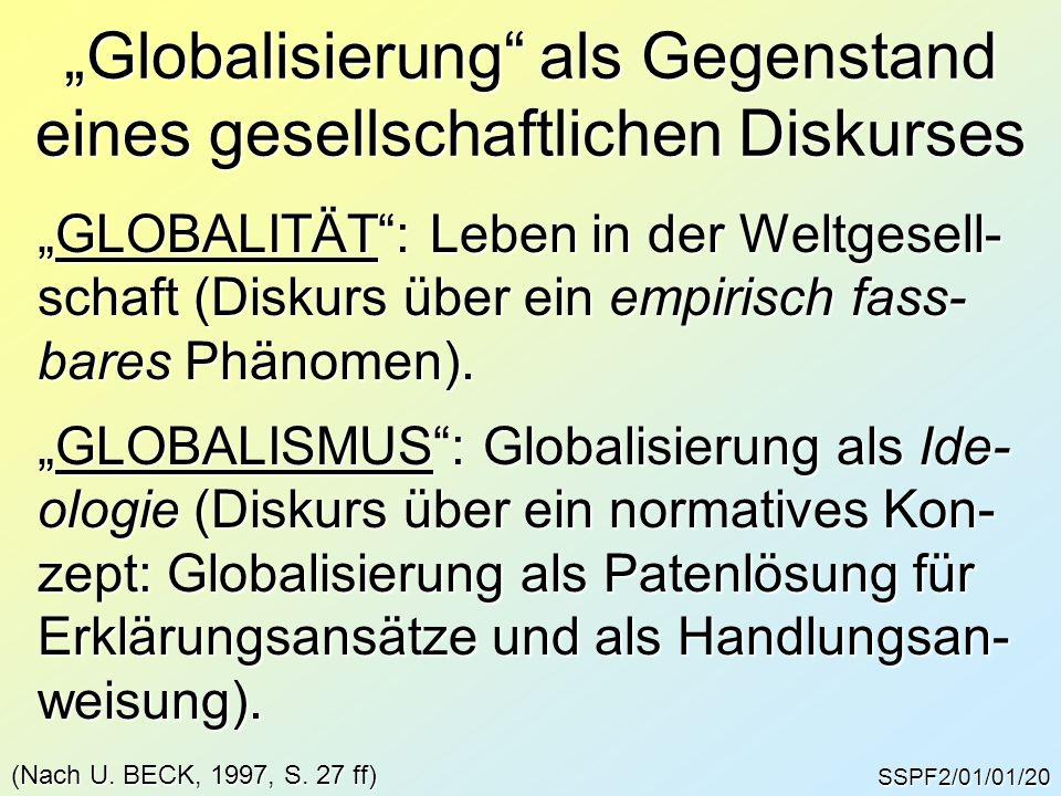 """SSPF2/01/01/20 """"Globalisierung als Gegenstand eines gesellschaftlichen Diskurses """"GLOBALITÄT : Leben in der Weltgesell- schaft (Diskurs über ein empirisch fass- bares Phänomen)."""