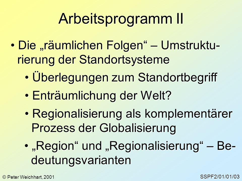 """Arbeitsprogramm II SSPF2/01/01/03 Die """"räumlichen Folgen"""" – Umstruktu- Die """"räumlichen Folgen"""" – Umstruktu- rierung der Standortsysteme rierung der St"""