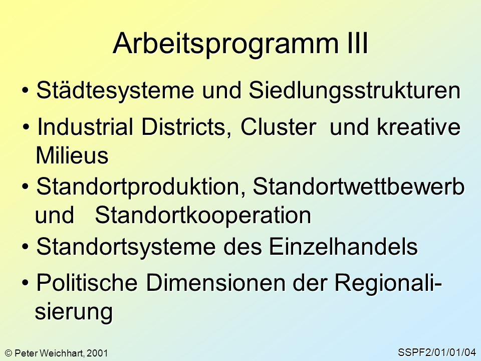 Arbeitsprogramm III SSPF2/01/01/04 © Peter Weichhart, 2001 Städtesysteme und Siedlungsstrukturen Städtesysteme und Siedlungsstrukturen Industrial Dist