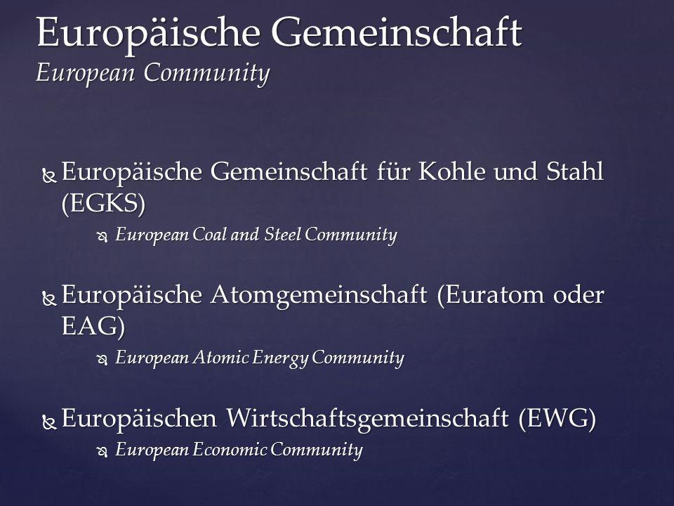  Europäische Gemeinschaft für Kohle und Stahl (EGKS)  European Coal and Steel Community  Europäische Atomgemeinschaft (Euratom oder EAG)  European