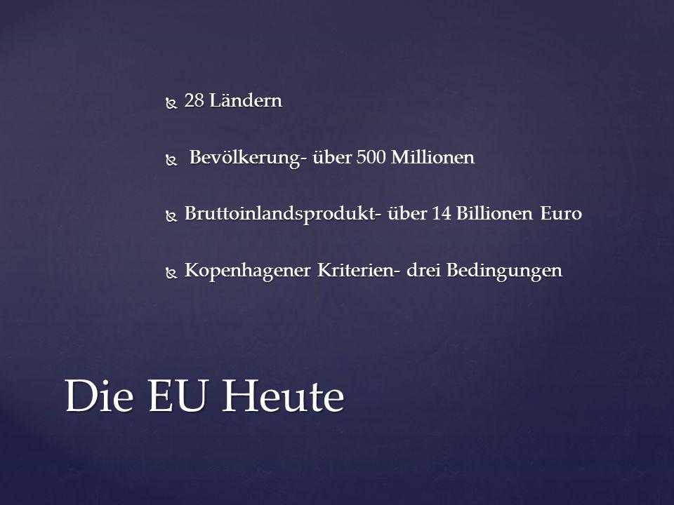  28 Ländern  Bevölkerung-  Bevölkerung- über 500 Millionen  Bruttoinlandsprodukt-  Bruttoinlandsprodukt- über 14 Billionen Euro  Kopenhagener Kr