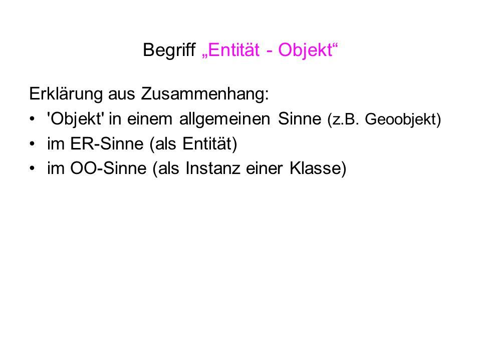 """Begriff """"Entität - Objekt"""" Erklärung aus Zusammenhang: 'Objekt' in einem allgemeinen Sinne (z.B. Geoobjekt) im ER-Sinne (als Entität) im OO-Sinne (als"""