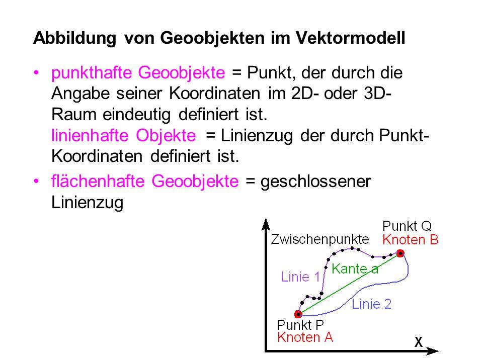 Abbildung von Geoobjekten im Vektormodell punkthafte Geoobjekte = Punkt, der durch die Angabe seiner Koordinaten im 2D- oder 3D- Raum eindeutig definiert ist.