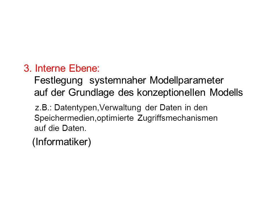 3. Interne Ebene: Festlegung systemnaher Modellparameter auf der Grundlage des konzeptionellen Modells z.B.: Datentypen,Verwaltung der Daten in den Sp