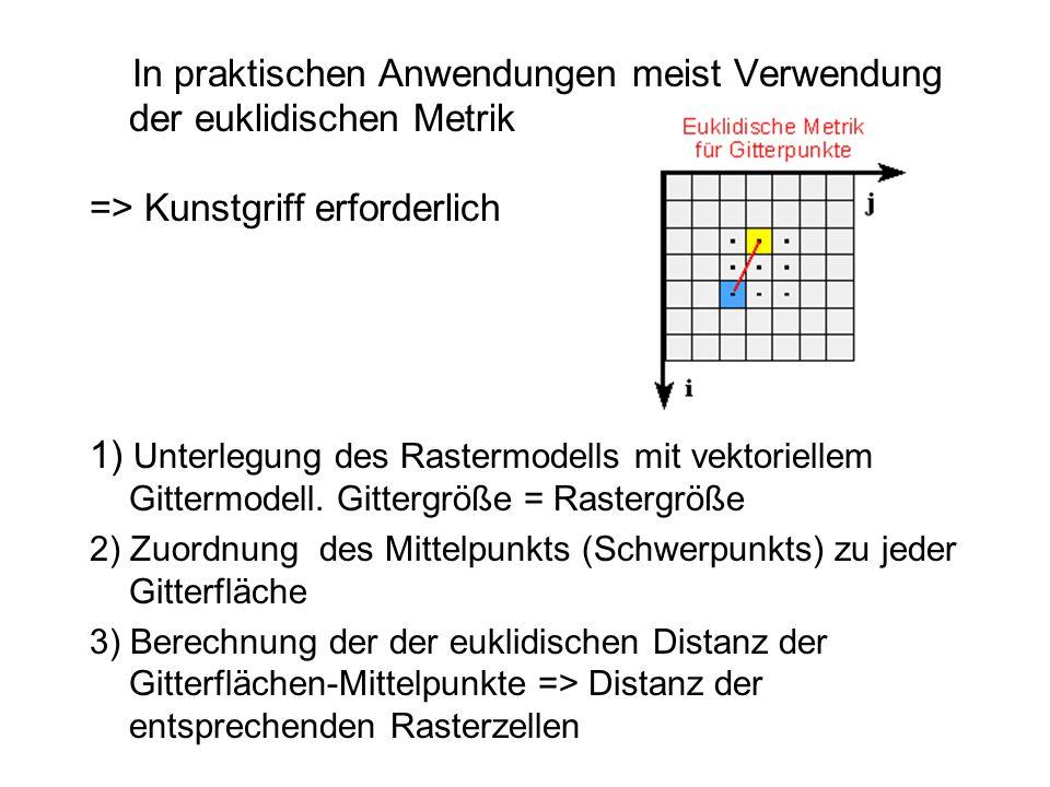 In praktischen Anwendungen meist Verwendung der euklidischen Metrik => Kunstgriff erforderlich 1) Unterlegung des Rastermodells mit vektoriellem Gitte