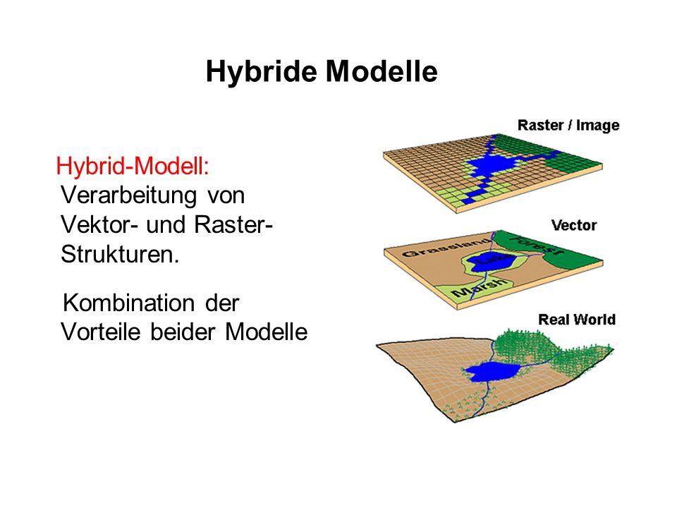 Hybride Modelle Hybrid-Modell: Verarbeitung von Vektor- und Raster- Strukturen. Kombination der Vorteile beider Modelle