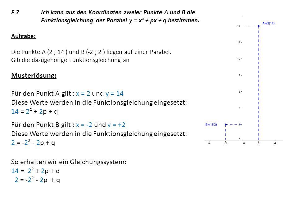 F 7 Ich kann aus den Koordinaten zweier Punkte A und B die Funktionsgleichung der Parabel y = x² + px + q bestimmen.