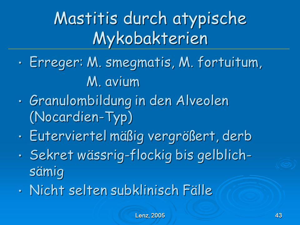 Lenz, 200543 Mastitis durch atypische Mykobakterien Erreger: M.