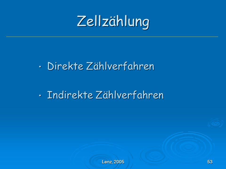 Lenz, 200553 Zellzählung Direkte Zählverfahren Direkte Zählverfahren Indirekte Zählverfahren Indirekte Zählverfahren