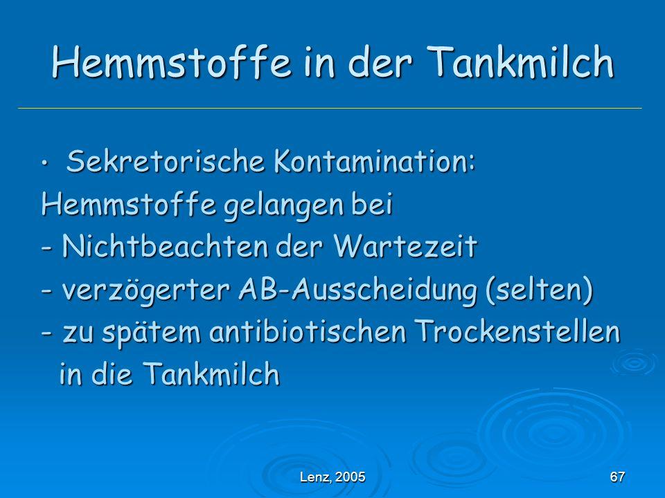 Lenz, 200567 Hemmstoffe in der Tankmilch Sekretorische Kontamination: Sekretorische Kontamination: Hemmstoffe gelangen bei - Nichtbeachten der Wartezeit - verzögerter AB-Ausscheidung (selten) - zu spätem antibiotischen Trockenstellen in die Tankmilch in die Tankmilch