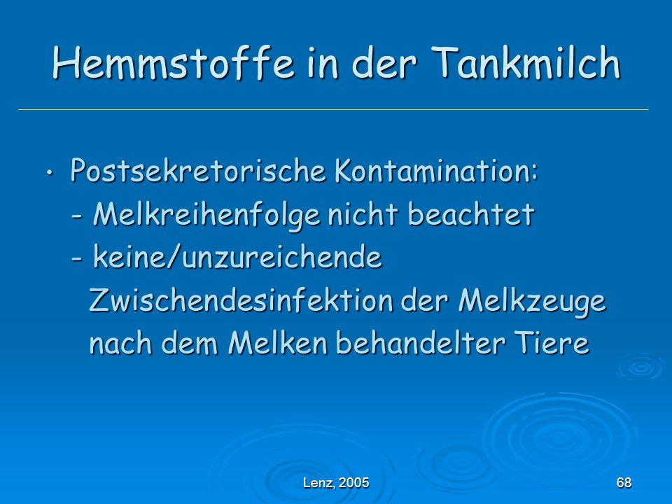 Lenz, 200568 Hemmstoffe in der Tankmilch Postsekretorische Kontamination: Postsekretorische Kontamination: - Melkreihenfolge nicht beachtet - keine/unzureichende Zwischendesinfektion der Melkzeuge Zwischendesinfektion der Melkzeuge nach dem Melken behandelter Tiere nach dem Melken behandelter Tiere