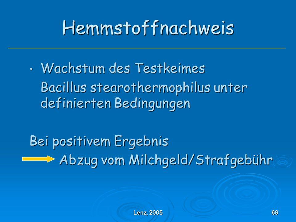 Lenz, 200569 Hemmstoffnachweis Wachstum des Testkeimes Wachstum des Testkeimes Bacillus stearothermophilus unter definierten Bedingungen Bei positivem Ergebnis Abzug vom Milchgeld/Strafgebühr