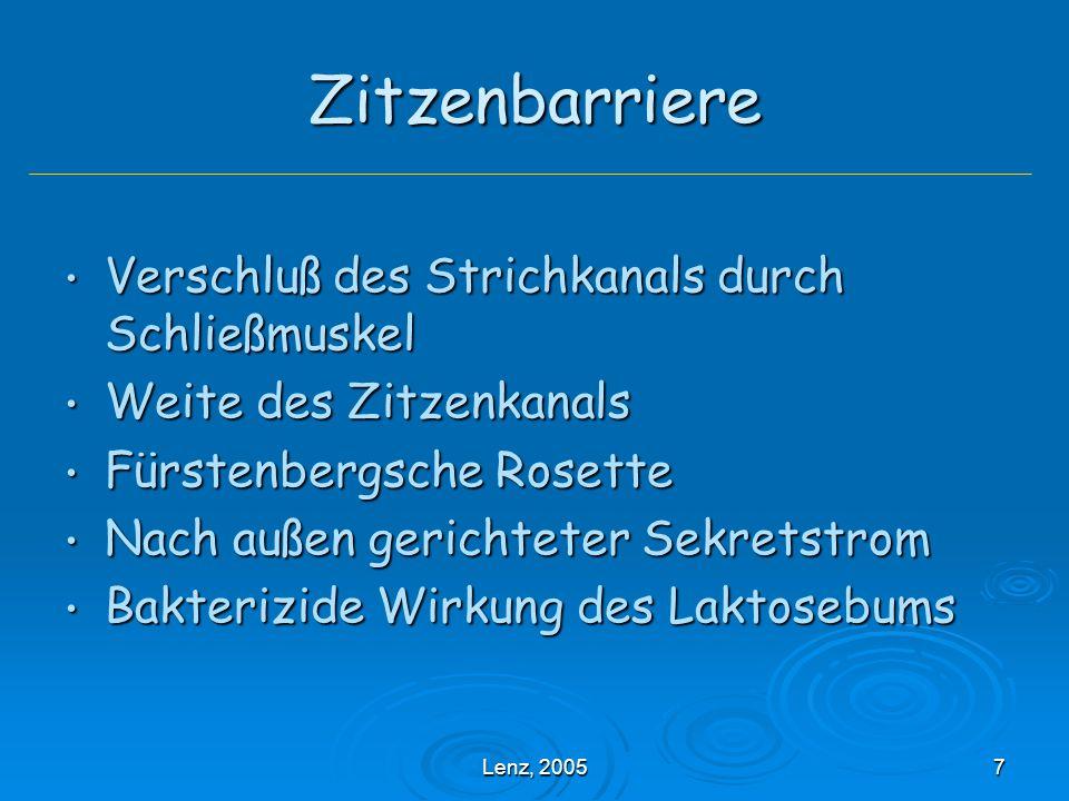 Lenz, 200578 Nicht infektiöse Faktoren Zitzenverletzungen Zitzenverletzungen Anzahl der Melkzeiten pro Tag Anzahl der Melkzeiten pro Tag Melktechnik Melktechnik Melkarbeit Melkarbeit