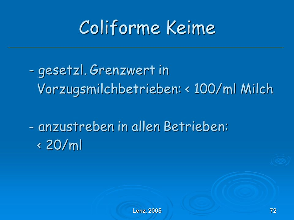Lenz, 200572 Coliforme Keime - gesetzl.