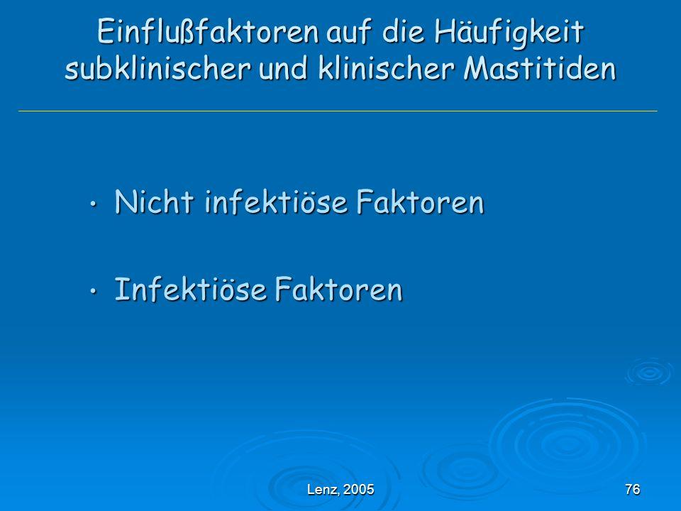 Lenz, 200576 Einflußfaktoren auf die Häufigkeit subklinischer und klinischer Mastitiden Nicht infektiöse Faktoren Nicht infektiöse Faktoren Infektiöse Faktoren Infektiöse Faktoren