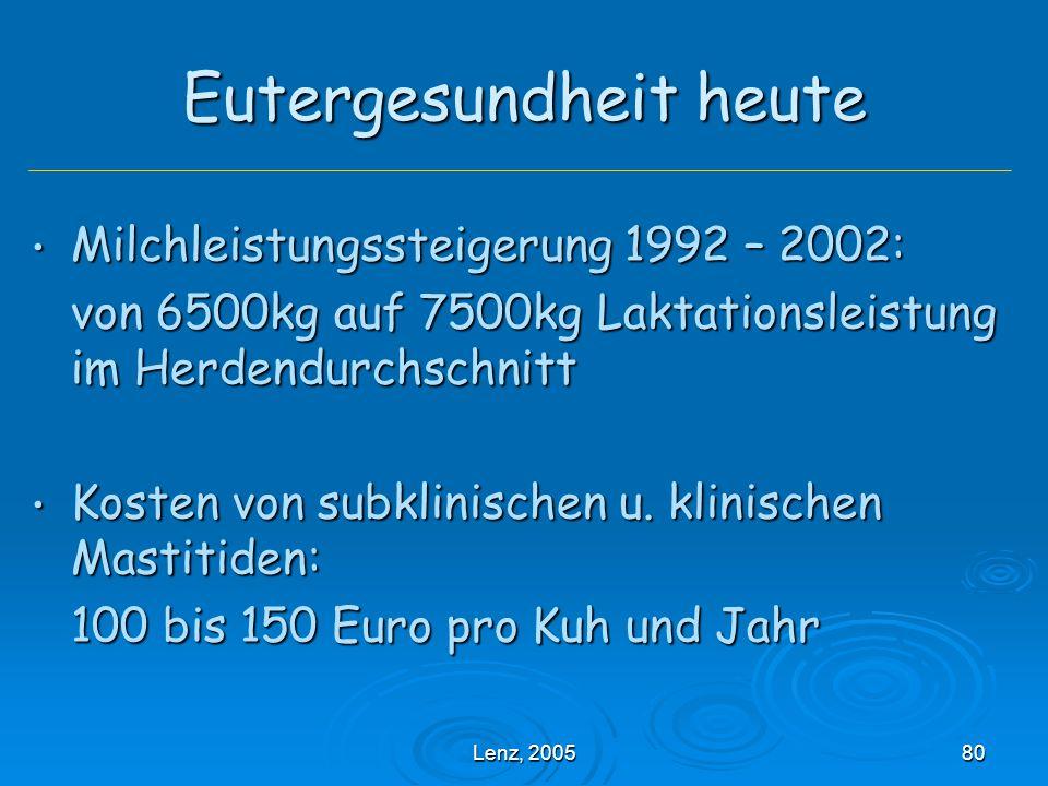 Lenz, 200580 Eutergesundheit heute Milchleistungssteigerung 1992 – 2002: Milchleistungssteigerung 1992 – 2002: von 6500kg auf 7500kg Laktationsleistung im Herdendurchschnitt Kosten von subklinischen u.