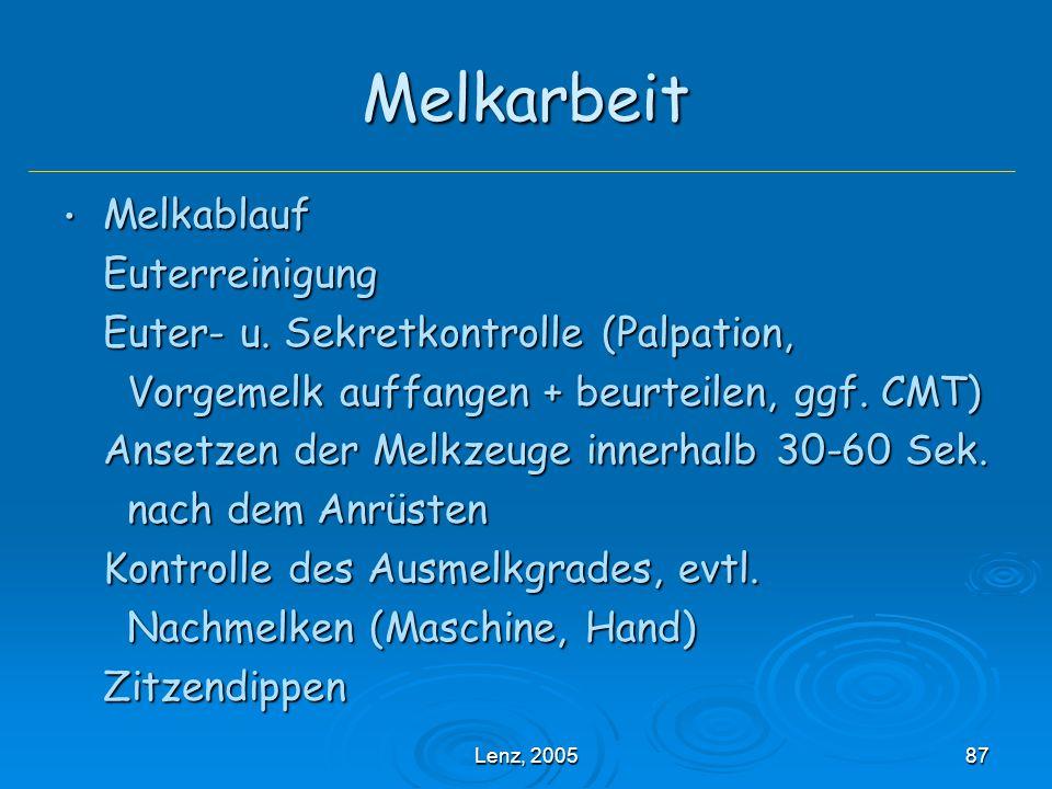 Lenz, 200587 Melkarbeit Melkablauf MelkablaufEuterreinigung Euter- u.