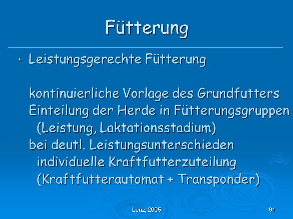 Lenz, 200591 Fütterung Leistungsgerechte Fütterung Leistungsgerechte Fütterung kontinuierliche Vorlage des Grundfutters Einteilung der Herde in Fütterungsgruppen (Leistung, Laktationsstadium) (Leistung, Laktationsstadium) bei deutl.