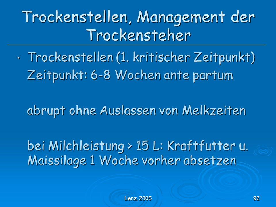 Lenz, 200592 Trockenstellen, Management der Trockensteher Trockenstellen (1.