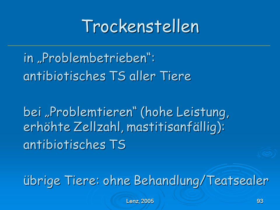"""Lenz, 200593 Trockenstellen in """"Problembetrieben : antibiotisches TS aller Tiere bei """"Problemtieren (hohe Leistung, erhöhte Zellzahl, mastitisanfällig): antibiotisches TS übrige Tiere: ohne Behandlung/Teatsealer"""