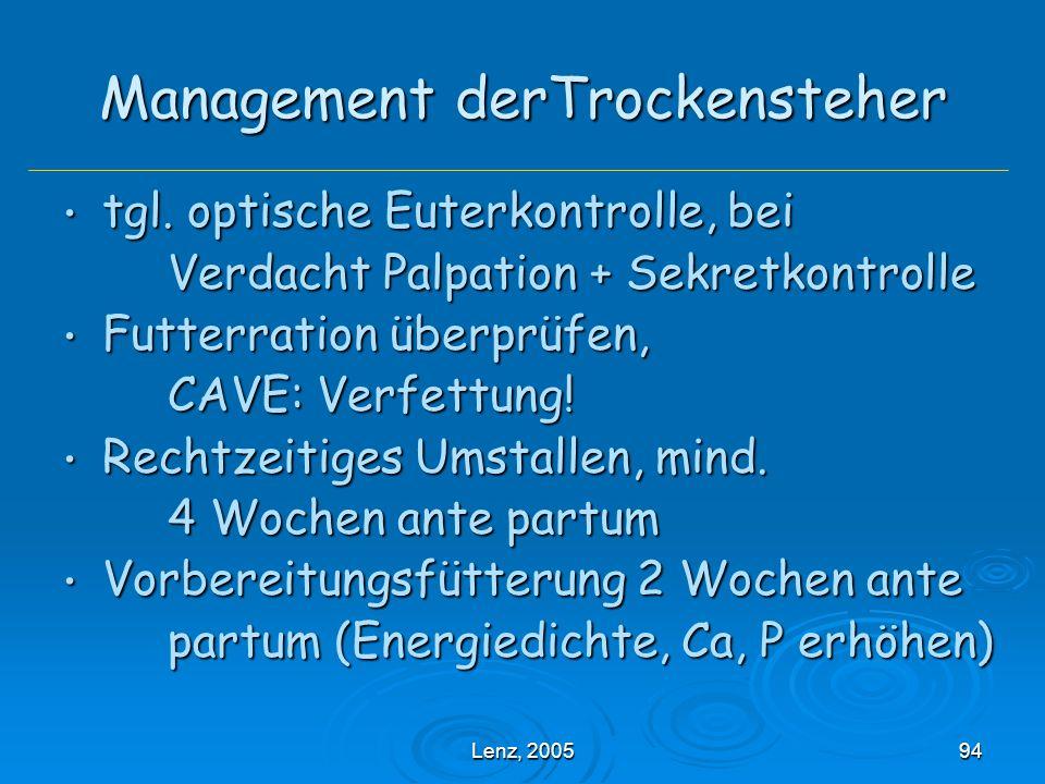 Lenz, 200594 Management derTrockensteher tgl.optische Euterkontrolle, bei tgl.