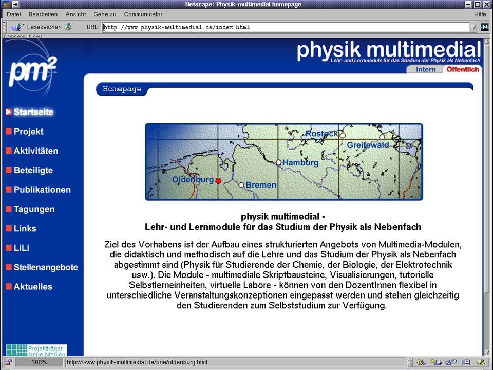 physik multimedial Lehr- und Lernmodule für das Studium der Physik als Nebenfach Titel der Seite Inhalt der Seite … physik multimedial: LiLi Julika Mimkes mimkes@uni-oldenburg.de Tag der Physik, 2002 www.physik-multimedial.de