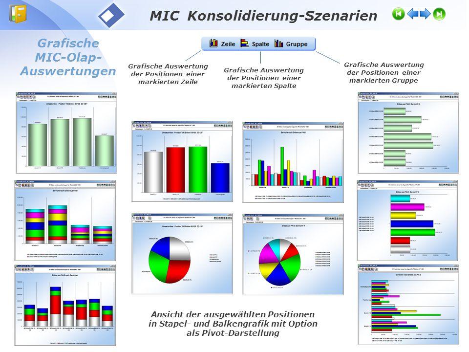 Grafische MIC-Olap- Auswertungen Ansicht der ausgewählten Positionen in Stapel- und Balkengrafik mit Option als Pivot-Darstellung Grafische Auswertung
