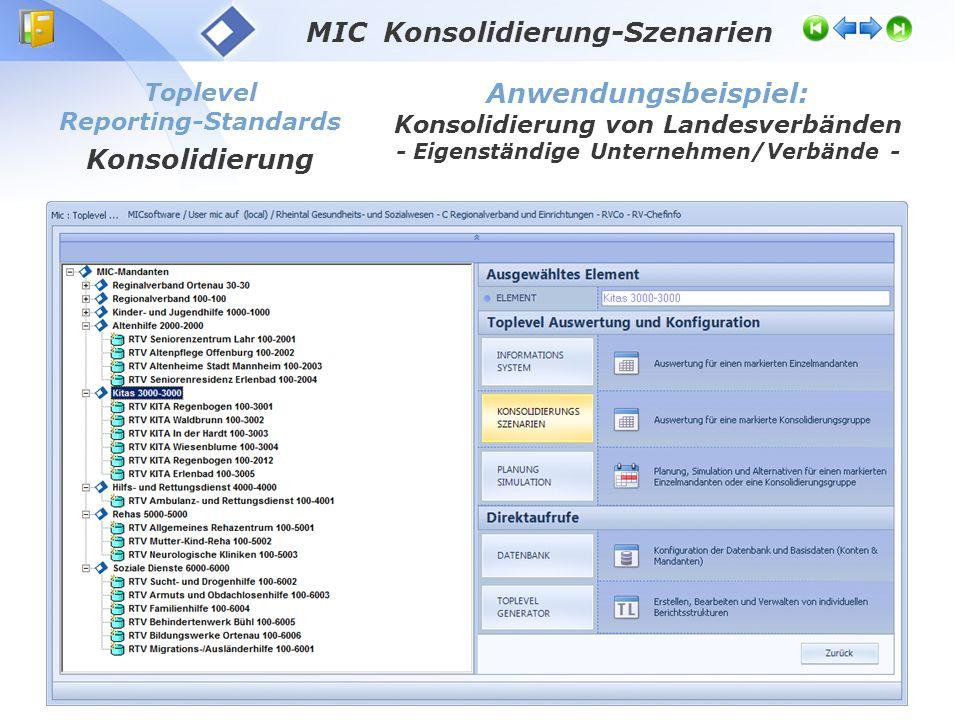 Toplevel Reporting-Standards Konsolidierung Anwendungsbeispiel: Konsolidierung von Landesverbänden - Eigenständige Unternehmen/Verbände - MIC Konsolid