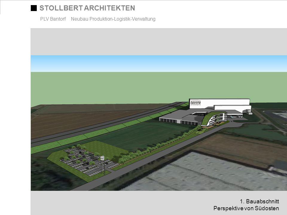 STOLLBERT ARCHITEKTEN PLV Bantorf Neubau Produktion-Logistik-Verwaltung 1. Bauabschnitt Perspektive von Südosten