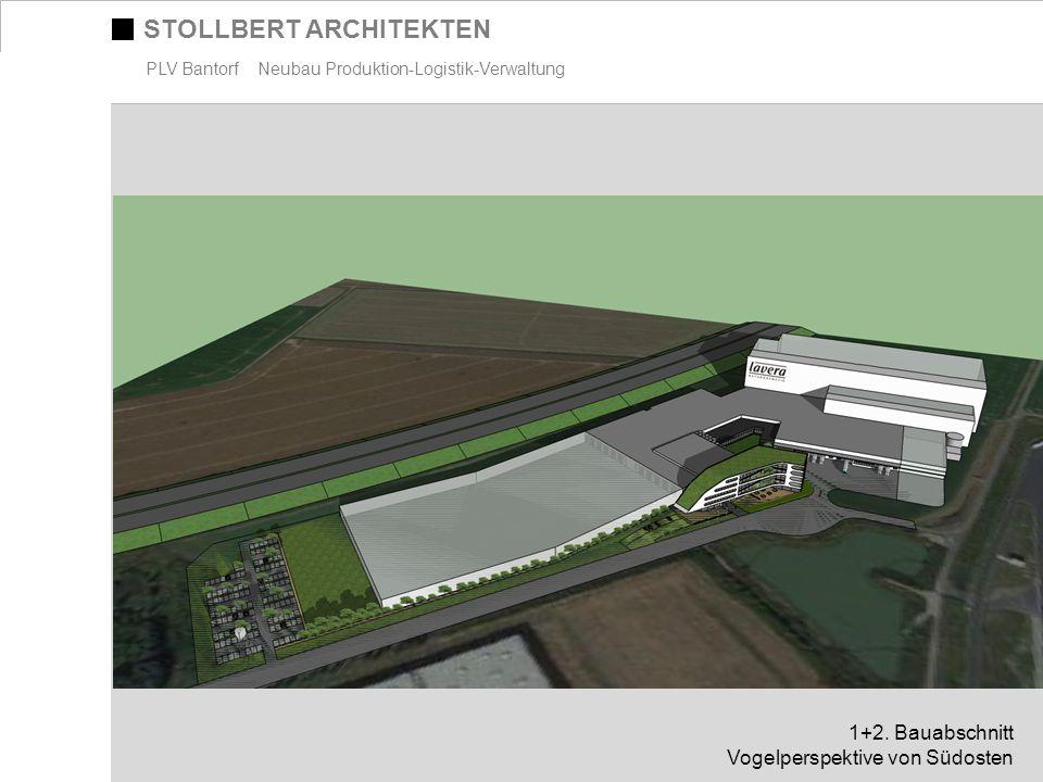 STOLLBERT ARCHITEKTEN PLV Bantorf Neubau Produktion-Logistik-Verwaltung 1+2. Bauabschnitt Vogelperspektive von Südosten