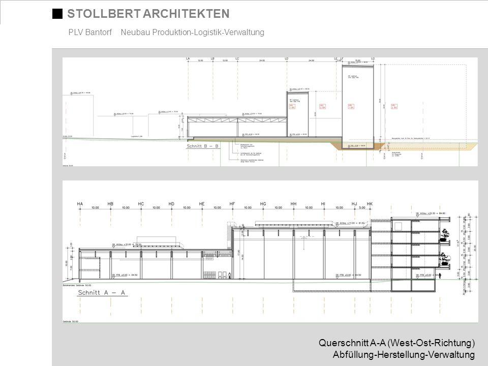 STOLLBERT ARCHITEKTEN PLV Bantorf Neubau Produktion-Logistik-Verwaltung Querschnitt A-A (West-Ost-Richtung) Abfüllung-Herstellung-Verwaltung