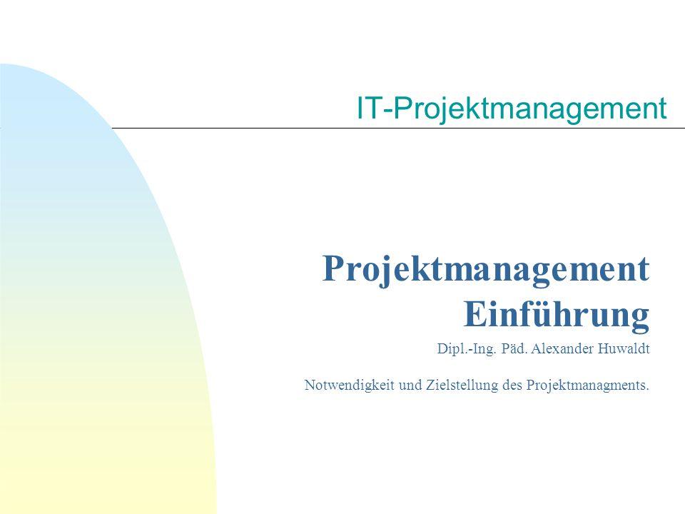 IT-Projektmanagement Projektmanagement Einführung Dipl.-Ing.