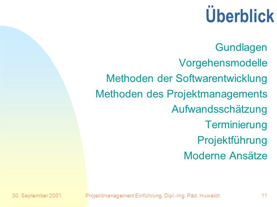 30.September 2001Projektmanagement Einführung, Dipl.-Ing.