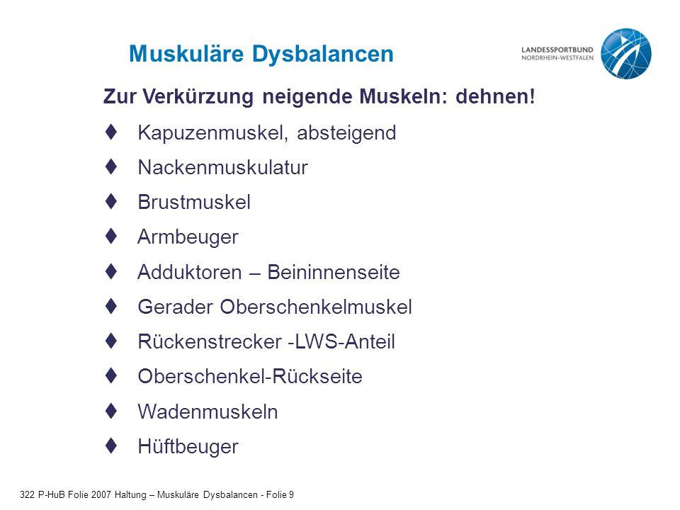 Muskuläre Dysbalancen 322 P-HuB Folie 2007 Haltung – Muskuläre Dysbalancen - Folie 10 Zur Abschwächung neigende Muskeln: kräftigen.