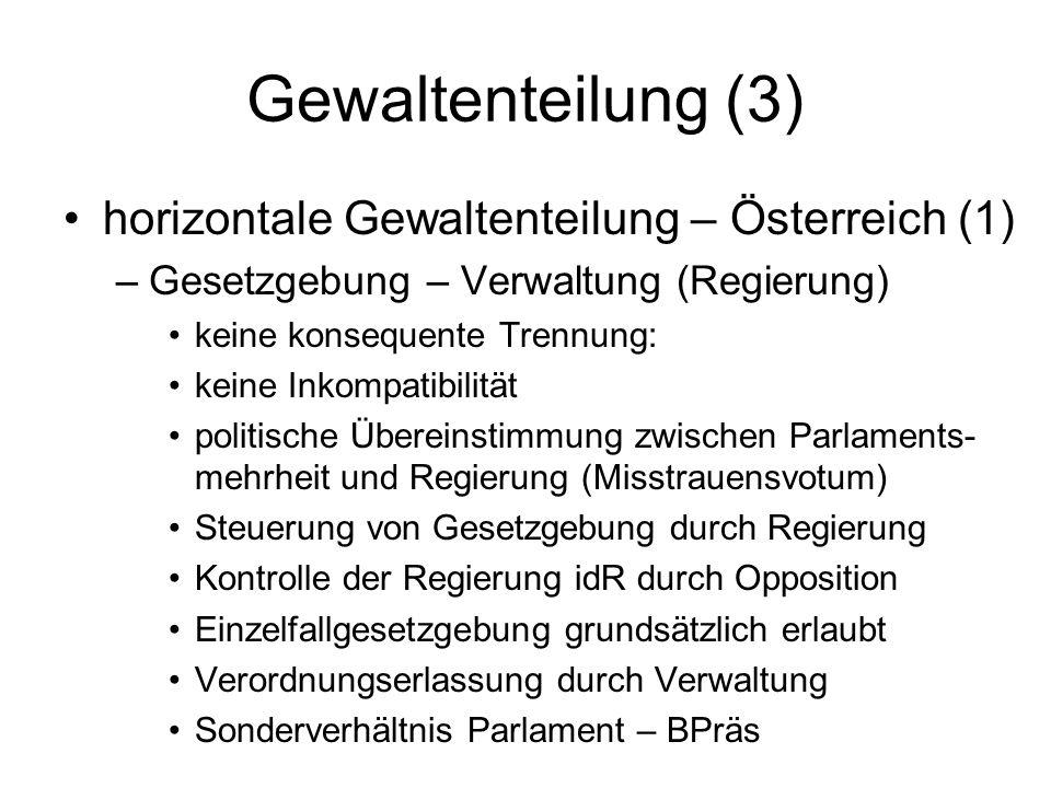 Gewaltenteilung (3) horizontale Gewaltenteilung – Österreich (1) –Gesetzgebung – Verwaltung (Regierung) keine konsequente Trennung: keine Inkompatibil