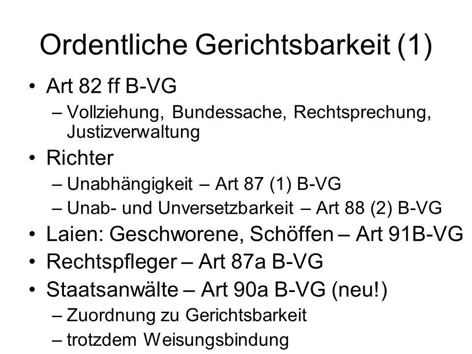 Ordentliche Gerichtsbarkeit (1) Art 82 ff B-VG –Vollziehung, Bundessache, Rechtsprechung, Justizverwaltung Richter –Unabhängigkeit – Art 87 (1) B-VG –