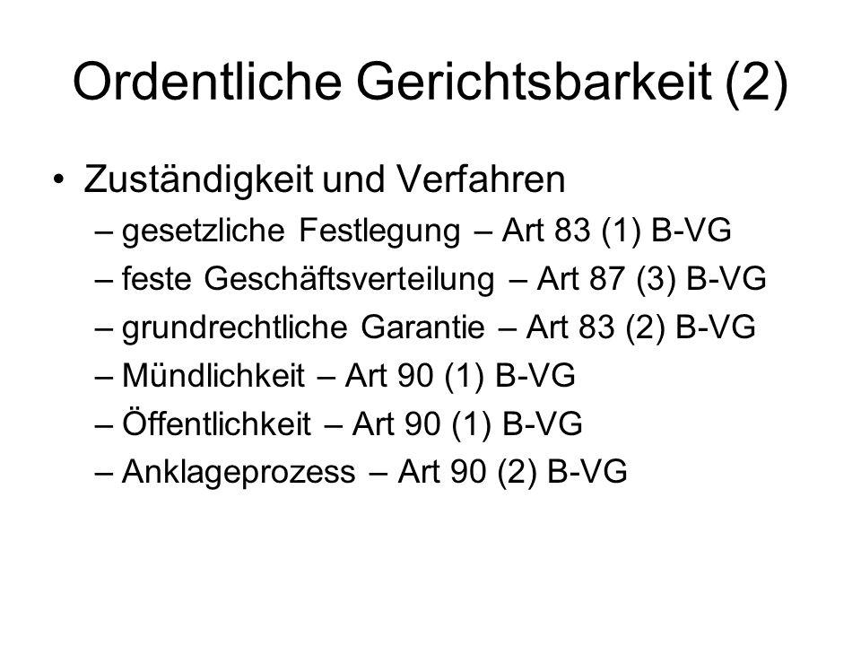 Ordentliche Gerichtsbarkeit (2) Zuständigkeit und Verfahren –gesetzliche Festlegung – Art 83 (1) B-VG –feste Geschäftsverteilung – Art 87 (3) B-VG –gr