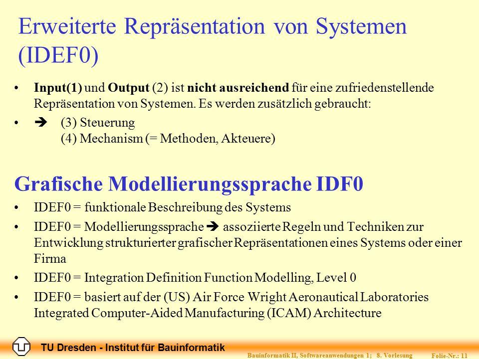 TU Dresden - Institut für Bauinformatik Folie-Nr.: 11 Bauinformatik II, Softwareanwendungen 1; 8. Vorlesung Erweiterte Repräsentation von Systemen (ID