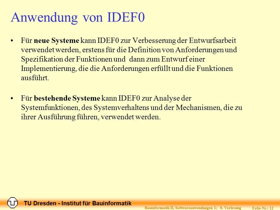 TU Dresden - Institut für Bauinformatik Folie-Nr.: 12 Bauinformatik II, Softwareanwendungen 1; 8. Vorlesung Anwendung von IDEF0 Für neue Systeme kann