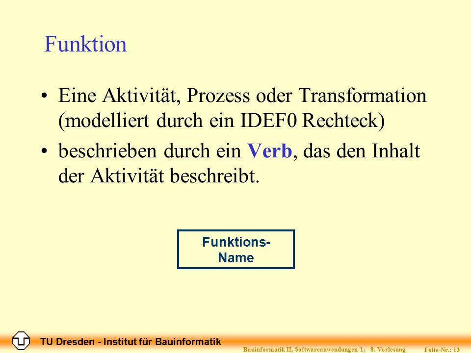 TU Dresden - Institut für Bauinformatik Folie-Nr.: 13 Bauinformatik II, Softwareanwendungen 1; 8. Vorlesung Funktion Eine Aktivität, Prozess oder Tran