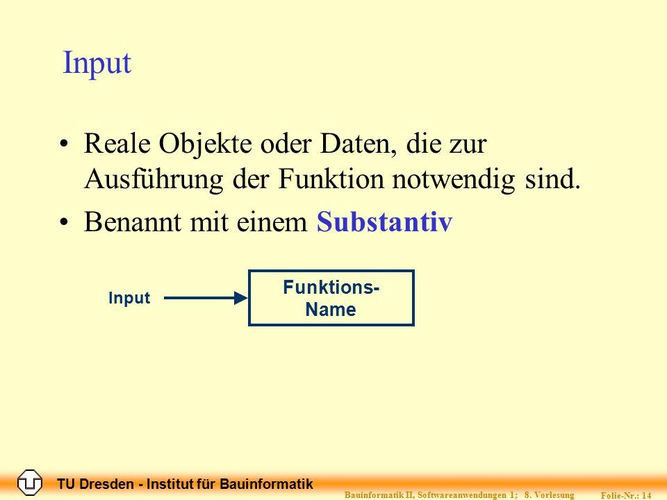 TU Dresden - Institut für Bauinformatik Folie-Nr.: 14 Bauinformatik II, Softwareanwendungen 1; 8. Vorlesung Input Reale Objekte oder Daten, die zur Au