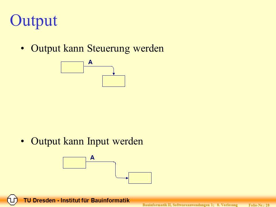 TU Dresden - Institut für Bauinformatik Folie-Nr.: 28 Bauinformatik II, Softwareanwendungen 1; 8. Vorlesung Output Output kann Steuerung werden Output
