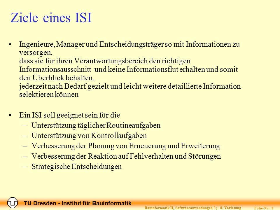 TU Dresden - Institut für Bauinformatik Folie-Nr.: 3 Bauinformatik II, Softwareanwendungen 1; 8. Vorlesung Ziele eines ISI Ingenieure, Manager und Ent