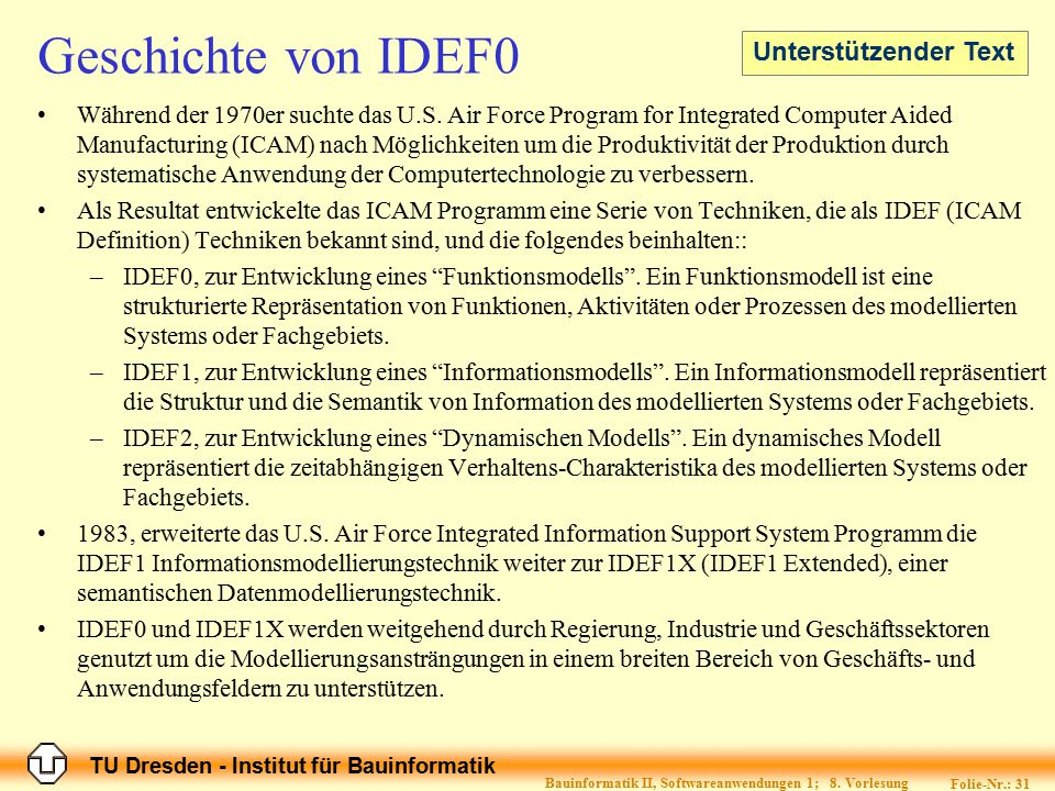 TU Dresden - Institut für Bauinformatik Folie-Nr.: 31 Bauinformatik II, Softwareanwendungen 1; 8. Vorlesung Geschichte von IDEF0 Während der 1970er su